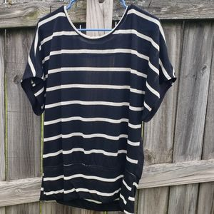 Black and Off White Striped Tunic